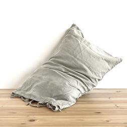 Linen pillow case flax TIES SHAM pure linen 100% linen stone