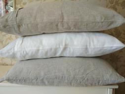 Linen PILLOWCASE zippered King Body Pillow White Gray FLAX P