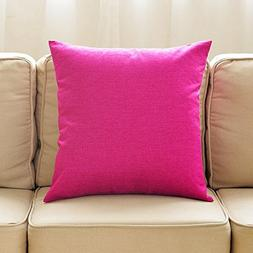 Linen Square Throw Pillow Decorative Solid Toss Pillow for S