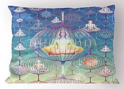 Ambesonne Mandala Pillow Sham, Meditation and Yoga Human Bod