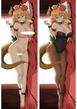 Mario Bowsette Nude Dakimakura Anime Body Hugging Pillow Cov