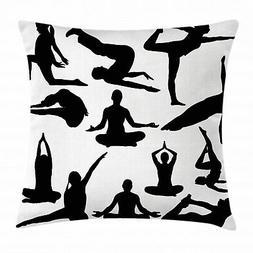 Meditation Throw Pillow Case Yoga Postures Body Square Cushi
