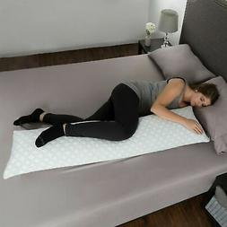 Memory Foam Body Pillow Side Sleepers Aching Legs RLS Zipper