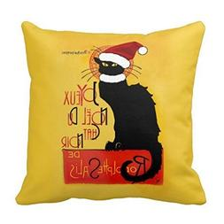 Fimaliy Merry Christmas to The Black cat Throw Pillow case 1