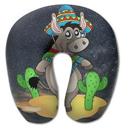 Mexican Donkey With Cactuses Cartoon Super Comfortable U Typ