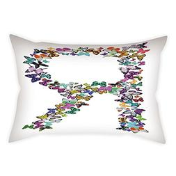 iPrint Microfiber Throw Pillow Cushion Cover,Letter R,A Coll