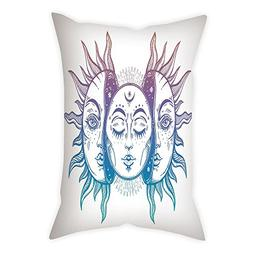 iPrint Microfiber Throw Pillow Cushion Cover,Moon,Psychedeli