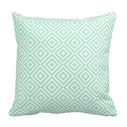Mint Green Geometrical Squares Pattern Pillow Throw Pillow C