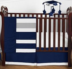 Modern Navy Blue and Gray Stripe Print Boys Baby Bedding 4 P