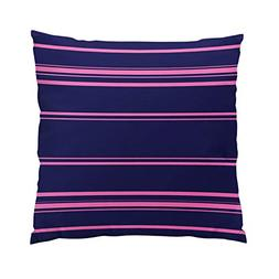Sokiiy Modern Navy Blue and Pink Stripes Fancy Hidden Zipper