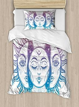 Ambesonne Moon Duvet Cover Set Twin Size, Psychedelic Repres