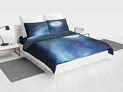 Moon Girls Twin Bedding Sets Night Sky with Stars Full Moon