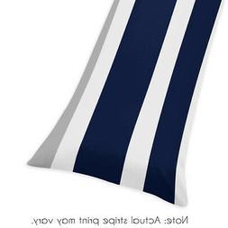 Sweet Jojo Designs Navy Blue, Gray and White Stripe Full Len