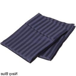 Rajlinen Navy Blue Stripe 2 Qty Pillow Cover Body  Size Blan