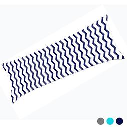 Gyulin Navy Blue White 100% Cotton 300 Thread Count Chevron