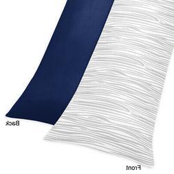 Sweet Jojo Designs Navy and Wood Grain Print Full Length Dou