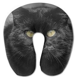Laurel Neck Pillow Black Cat Yellow Eyes Travel U-Shaped Pil