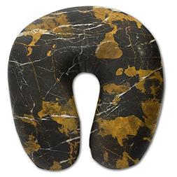 Laurel Neck Pillow Black Gold Texture Travel U-Shaped Pillow