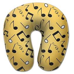 neck pillow black musical notes