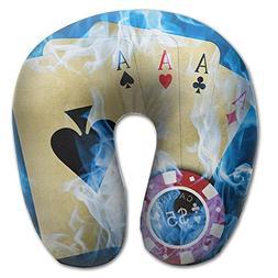 Laurel Neck Pillow Blue Fire Ace Cards Travel U-Shaped Pillo
