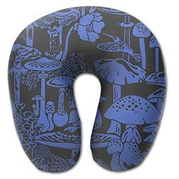 Laurel Neck Pillow Blue Mushroom City Pattern Travel U-Shape