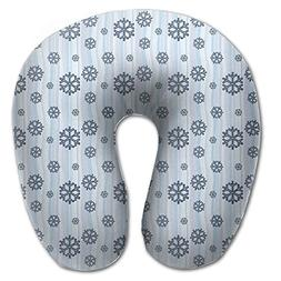 Laurel Neck Pillow Blue Snowflake Travel U-Shaped Pillow Sof