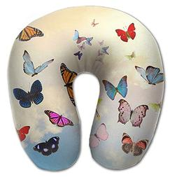 Laurel Neck Pillow Butterfly Sky Collage Travel U-Shaped Pil