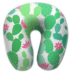 Laurel Neck Pillow Green Cute Cactus Pattern Travel U-Shaped