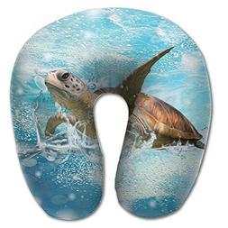 Laurel Neck Pillow Green Sea Turtle Travel U-Shaped Pillow S