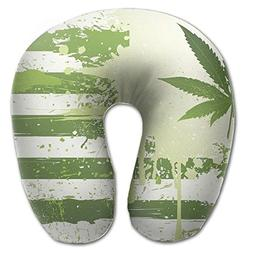 Laurel Neck Pillow Green Weed Travel U-Shaped Pillow Soft Me