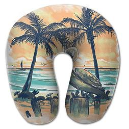 Laurel Neck Pillow Pelican Sunset Art Paint Travel U-Shaped