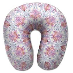 Laurel Neck Pillow Pink Snowflake Mark Travel U-Shaped Pillo
