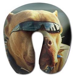 Laurel Neck Pillow Pit Bull Dog with Sunglass Travel U-Shape