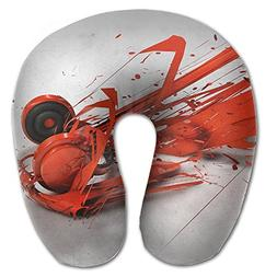 Laurel Neck Pillow Red Abstract Headphone Music Travel U-Sha