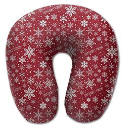 Laurel Neck Pillow Snowflake Red Background Travel U-Shaped