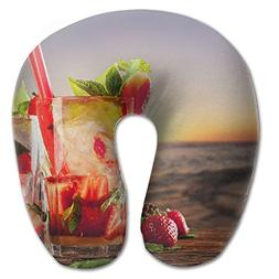 Laurel Neck Pillow Sunset Cocktails Strawberry Travel U-Shap