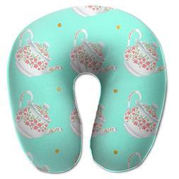 Laurel Neck Pillow Teapot Image Travel U-Shaped Pillow Soft