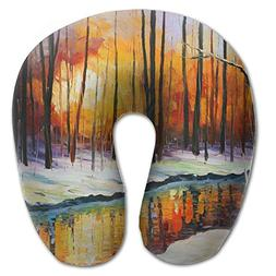neck pillow winter forest painting