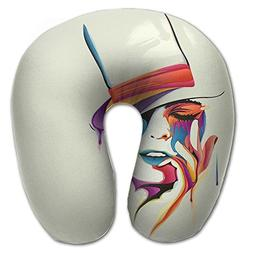 Laurel Neck Pillow Woman Face Drawing Travel U-Shaped Pillow