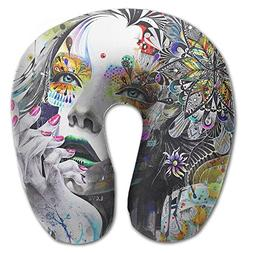 Laurel Neck Pillow Woman Face Paint Travel U-Shaped Pillow S