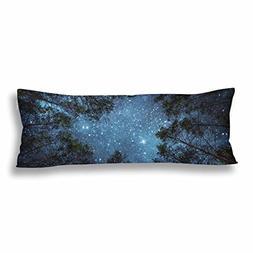 InterestPrint Night Sky Milky Way Tree Body Pillow Covers Pi