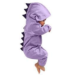 Yalasga One-piece Cute Dinosaur Hooded Romper Jumpsuit For B