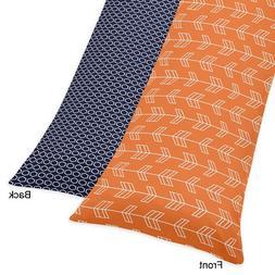 Sweet Jojo Designs Orange and Navy Arrow Print Full Length D