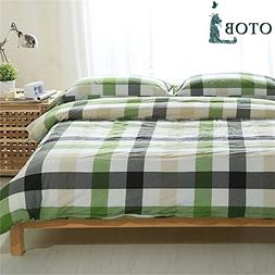 ORUSA Colorful Green White Checkered Plaid Bedding Set for K