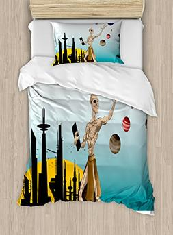 Ambesonne Outer Space Duvet Cover Set Twin Size, Odd Alien C