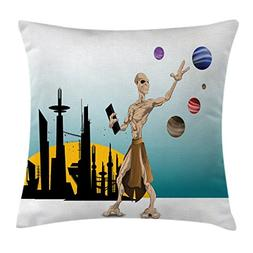 Ambesonne Outer Space Throw Pillow Cushion Cover, Odd Alien