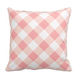 Pale Pink and White Plaid Throw Pillow Case Decor Cushion Pi