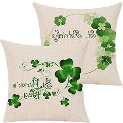 Pack of 2 St.Patricks Day Pillow Cover,Green Lucky Shamrock
