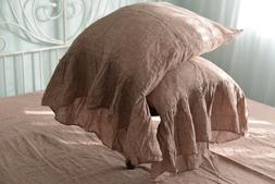 Pillow case color Rose Brown 100% Linen RUFFLE PILLOW SHAM C