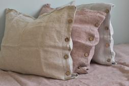 Linen pillow case with button closure with edge Stone Wash S